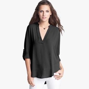 Lush Roll Tab Sleeve Tunic Blouse